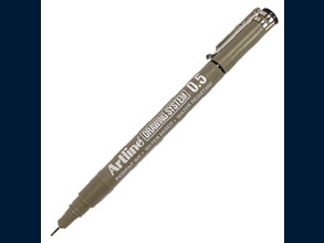 Fineliner Drawing System with a long lasting fibre point. Excellent quality calibrated marker with pigment black ink - non fading - waterproof.