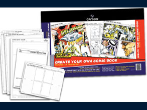 September PROMO: Create Your Own Comic Book Heavyweight pure white paper. Ideal for pencil, ink, marker and watercolor. Industry standard sheets with non-repro blue grid lines.  Including: 20 Comic Book Art Boards 2 Comic Book Cover Sheets 2 Concept Sketch Pages 4 Comic Book Layout Pages and complete instructions